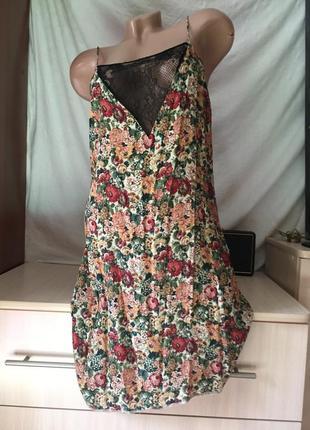 Милый сарафан на бретельках с открытыми плечами /платье в цветочки