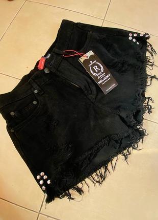 Новые чёрные джинсовые шорты