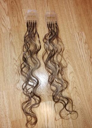 Натуральные волосы на капсулах для наращивания горячего трессы пряди 50 см