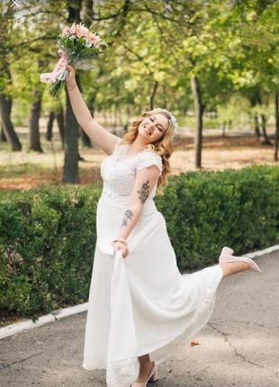 Свадебное белое длинное платье