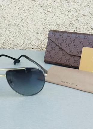 Gucci очки капли мужские солнцезащитные черные с золотом поляризированые
