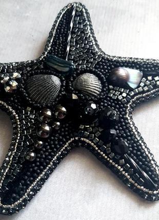 "Брошь ""самая морская звезда - black""4 фото"