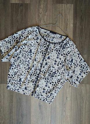 Красивая легкая блуза в леопардовый принт оверсайз батал