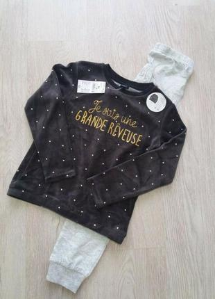 Классные велюровые  хлопковые пижамы  для девочек  kiabi франция.