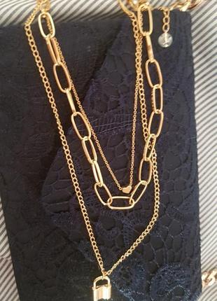 Тройная каскадная цепь колье ожерелье цепочка