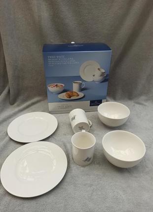Сервиз базовый белый, тарелки, чашки, миски villeroy &boch twist white 8 предметов