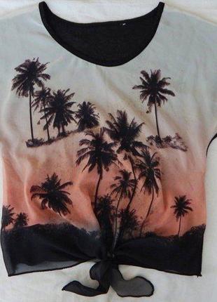 Блуза в пальмы, р-р s-m, футболка, майка, блузка, топ