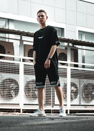 Костюм футболка с шортами мужской guapi gvapi mmxv 16637 черный в стиле бренда