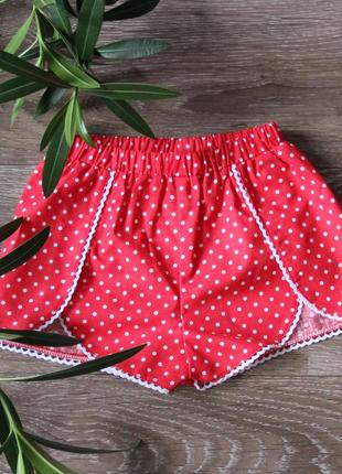 Красные шорты для девочек, тренд сезона 2020 горох, детские шорты в горохи горошек