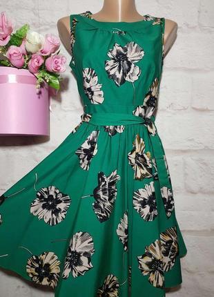 Платье миди коттоновое новое пышная юбка р 12 dorothy perkins