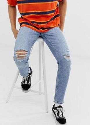 Голубые джинсы рваные на коленях jack & jones р. 46-48 (30/34)