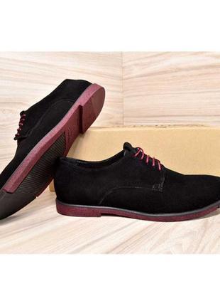 Модні чоловічі замшеві туфлі van kristi black