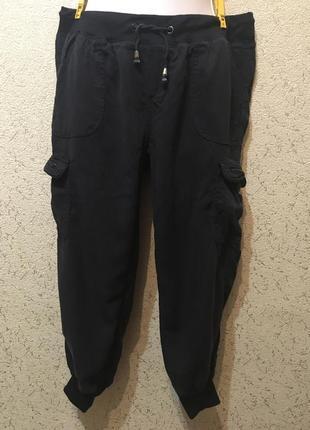 Легкие спортивные капри укорочённые штаны чёрные женские