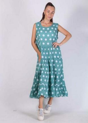 Лёгкое летнее платье, италия в горошек