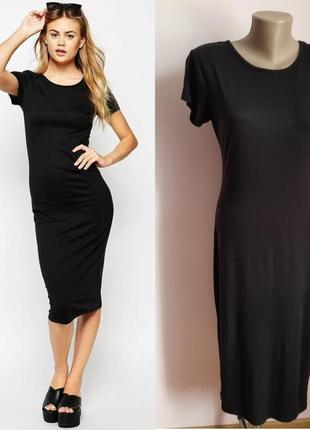 Стильное, черное платье-футболка ( вискоза)