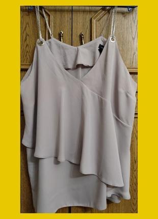 Шифоновая блуза замайка с бретелями в виде цепочек