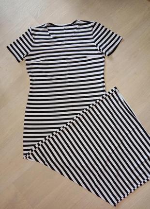 Платье в пол, трикотажное, полосатое, 44-46