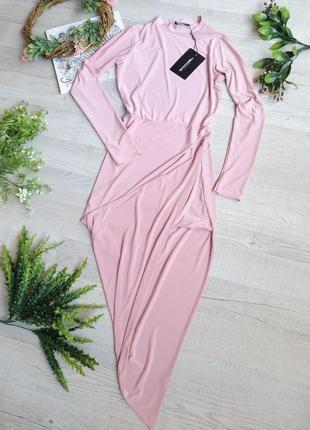 Шикарное сексуальное вечернее выпускное платье на маленькую худенькую девушку цвет пудра