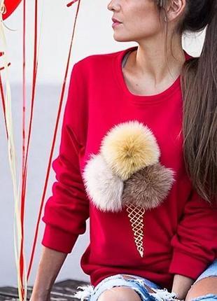 Свитер свитшот женский красный кофта с длинным рукавом мороженным мягкими бумбонами