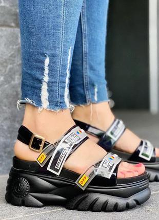 Топовые черные босоножки сандалии на платформе