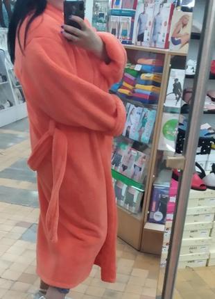 Длинный теплый махровый халат