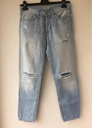 Голубые рваные джинсы 100% cotton джинсы