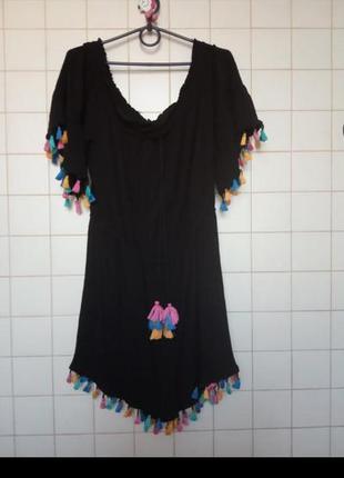 Летний черный ромпер пляжный комбинезон шортами вискоза