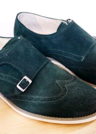 Туфли монки zara 42 замша новые зеленые
