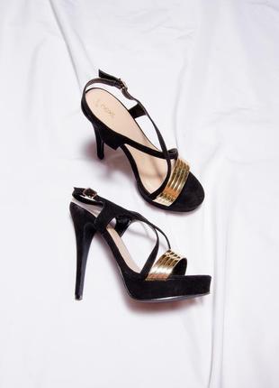 Замшевые босоножки на высоком каблуке, черные босоножки на шпильке, жіночі босоніжки