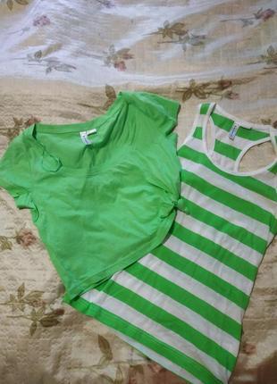 Двойка: майка + короткая футболка р32-34