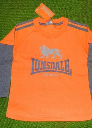 Яркий оранжевый реглан лонгслив lonsdale 2-3г, 92-98см. новый.