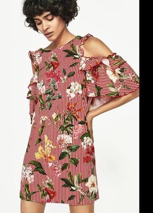 Платье летнее с воланами 2020 и открытыми плечами zara
