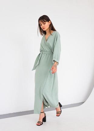 Нежное летнее макси платье кимоно на запах