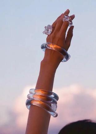 Трендовый набор браслет и кольцо/прозрачный пластик/новая коллекция