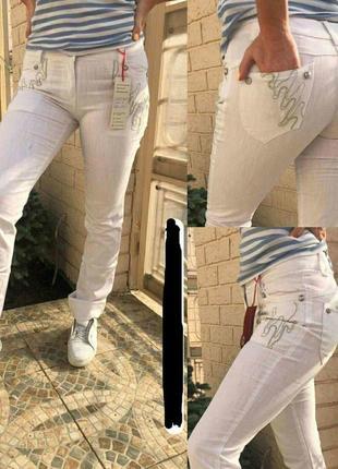 Джинсы белые с вышивкой 46-48 р.