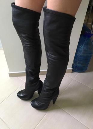 Кожаные ботфорты paolo conte