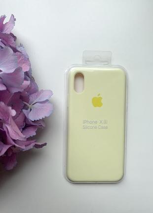 Чехол силиконовый для iphone x/xs silicone case лимонного цвета