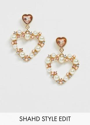"""💛🌸 классные серьги-гвоздики с подвесками """"сердечки"""" с кристаллами и жемчугом от asos"""