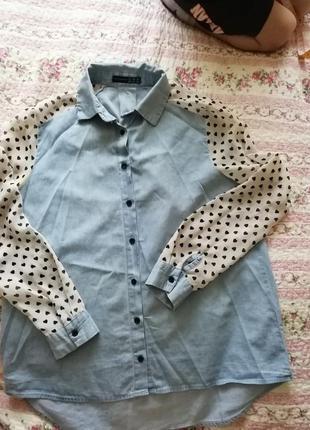 Джинсова блуза, сорочка з шифоновими рукавами