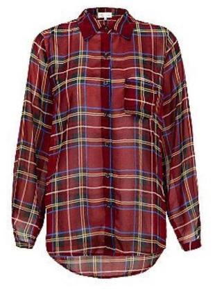 🌿1+1=3 фирменная модная красная блуза в клетку cameo rose, размер 46 - 48