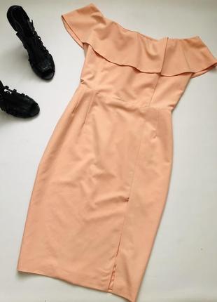 Персиковое коктейльное платье миди