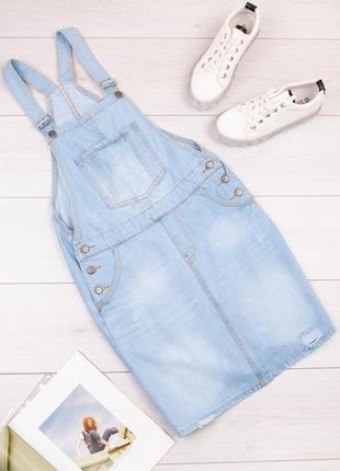 Стильный женский джинсовый сарафан платье комбинезон