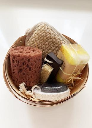 Подарочный набор для душа тела мочалка натуральная натуральное мыло