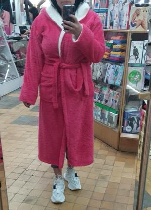 Теплый махровый длинный халат