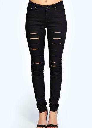 Рваные джинсы-скинни с высокой посадкой
