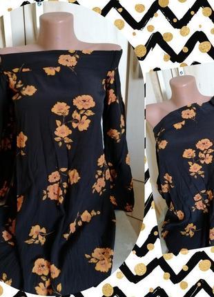 Чёрное платье туника в цветочек свободный крой s/m
