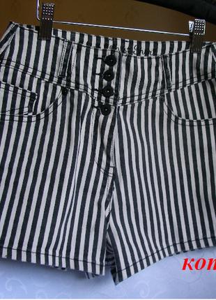 Модные шортики сезона в полоску джинсовые с высокой посадкой george