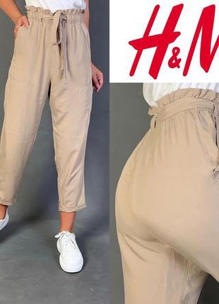 Летние брюки чиносы на резинке высокая посадка h&m.