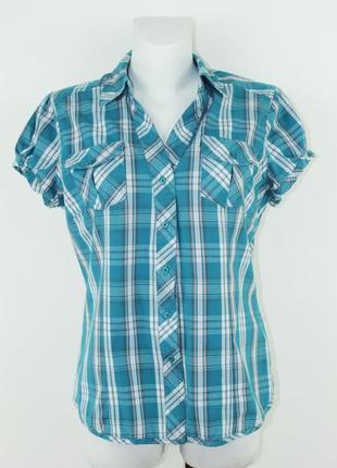 Бирюзовая блуза в клетку с коротким рукавом