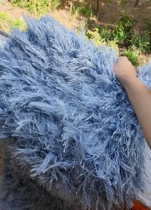 Новый ковёр с длинным ворсом,новая голубая дорожка с длинным ворсом,новый ковёр мягкий